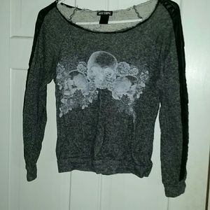 Sweaters - Gray Skull Floral Sweater w/ Pleather Details